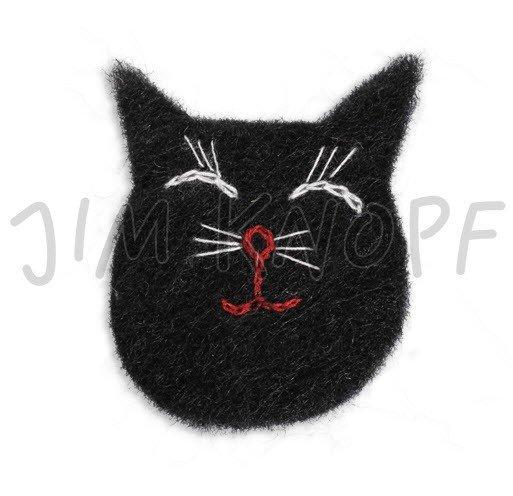 Jim Knopf Hand-crafted Wool Felt Patch Cat Head Black 74mm (13397)