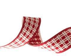 Plaid Ribbon red/cream 5/8 inch