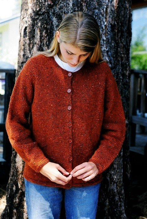 Knitting Pure & Simple Pattern - #9725 Neck Down Cardigan for Women