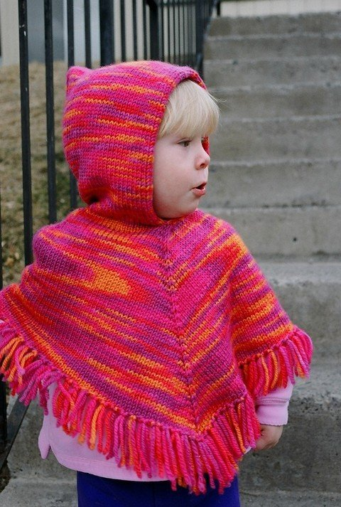 Knitting Pure & Simple Pattern - #243 Children's Poncho