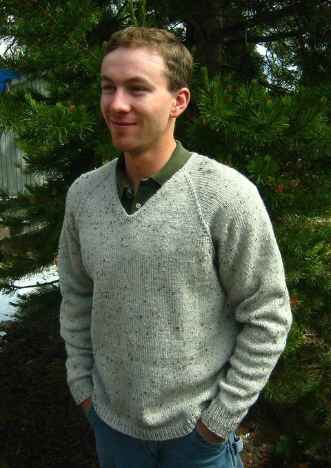 Knitting Pure & Simple Pattern - #247 V Neck Down Pullover for Men