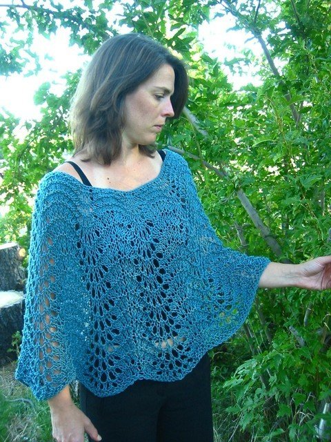 Knitting Pure & Simple Pattern - #251 Easy Lace Poncho