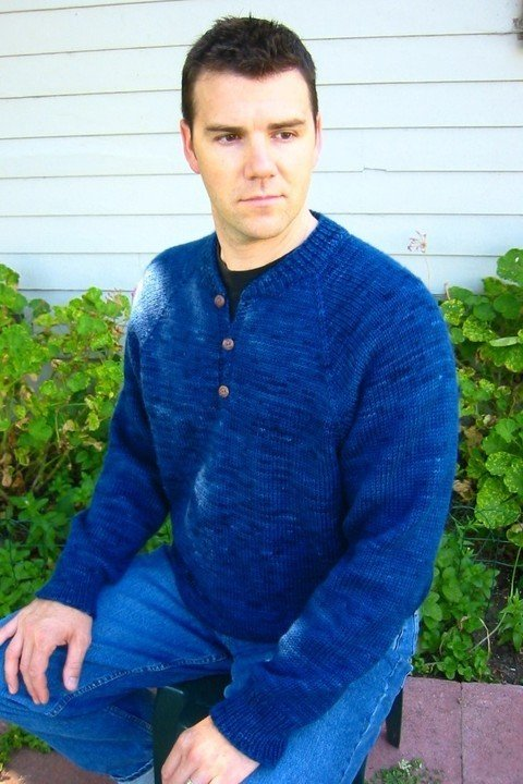 Knitting Pure & Simple Pattern - #255 Henley Neck Down Pullover for Men