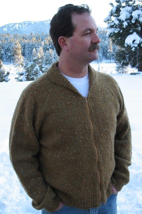 Knitting Pure & Simple Pattern - #264 Neck Down Cardigan for Men