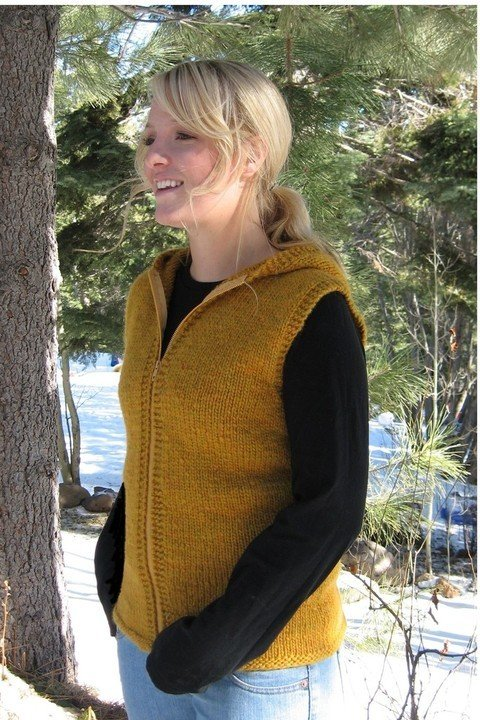 Knitting Pure & Simple Pattern - #272 Bulky Hooded Vest for Women