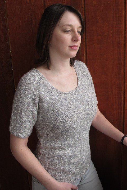 Knitting Pure & Simple Pattern - #283 Neck Down Scoop Neck T-Shirt