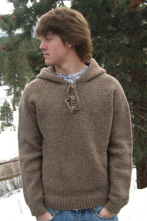 Knitting Pure & Simple Pattern - #105 Neck Down Hoded Pullover for Men