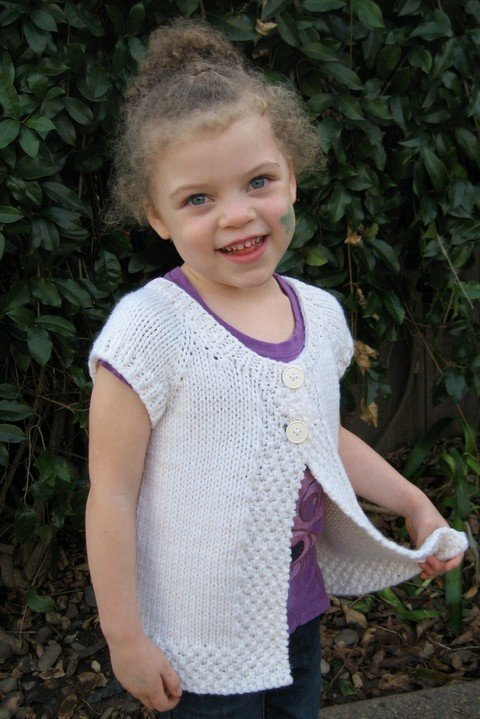 Knitting Pure & Simple Pattern - #106 Girl's Cap Sleeve Cardigan Vest