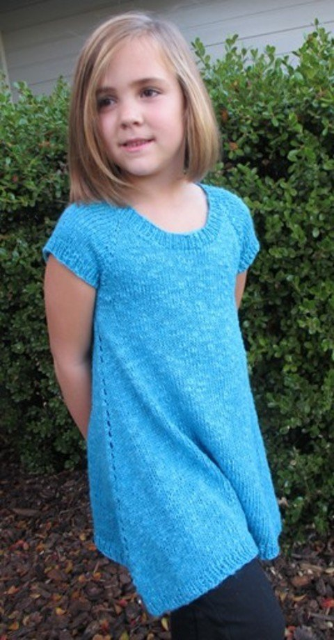 Knitting Pure & Simple Pattern - #1502 Girl Top-Down Trapeze Tunic