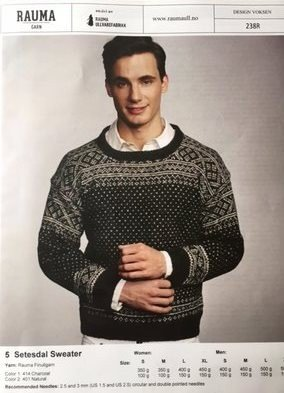 Finullgarn Pattern - Setesdal Mens Sweater 238R-5