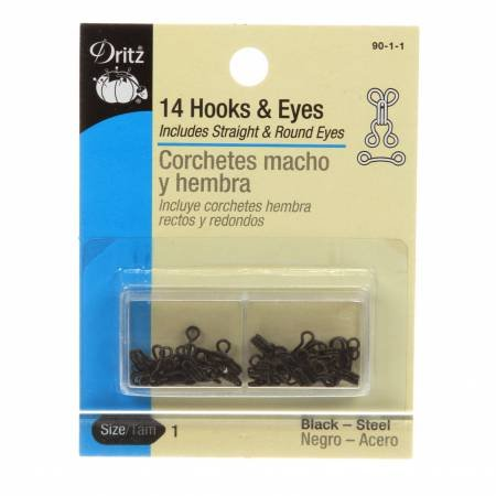 14 Hooks and Eyes Black-Brass