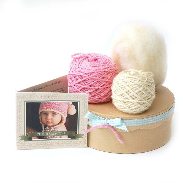 Appalachian Baby Organic Cotton - Thrum Earflap Hat Kit Gift Set - Pink