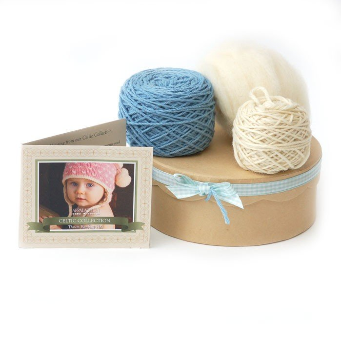 Appalachian Baby Organic Cotton - Thrum Earflap Hat Kit Gift Set - Blue