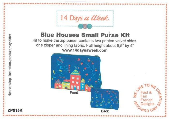 14 Days a Week Soft Velveteen Small Zip Bag Kit - Blue Houses