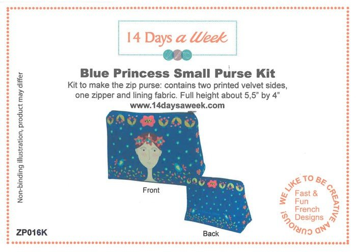 14 Days a Week Soft Velveteen Small Zip Bag Kit - Blue Princess