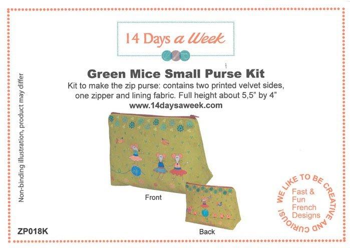 14 Days a Week Soft Velveteen Small Zip Bag Kit - Green Mice