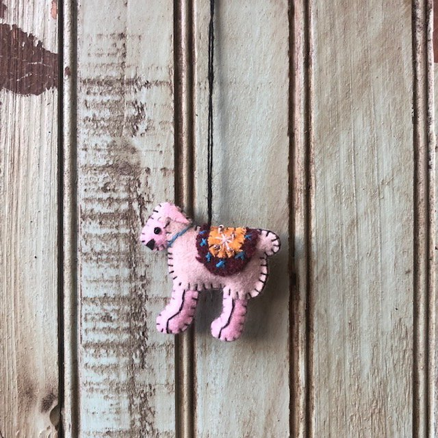 White sheep pink face and feet ornament