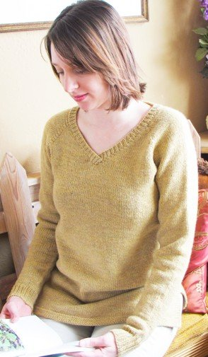Knitting Pure & Simple Pattern - #9726 Neck Down Pullover Tunic