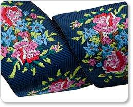Renaissance Ribbons Anna Maria Horner Navy Twill Bouquet