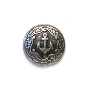 Anchor Silver Metal Button