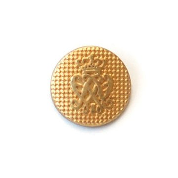Arched With Crown; Gold Metal Button