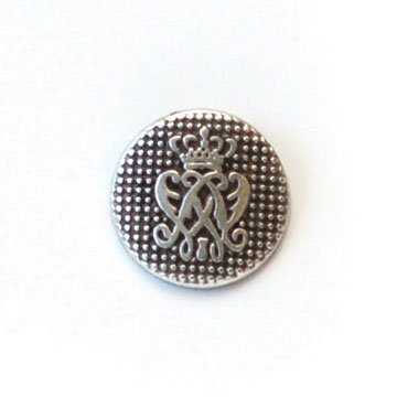 Arched With Crown Silver Metal Button