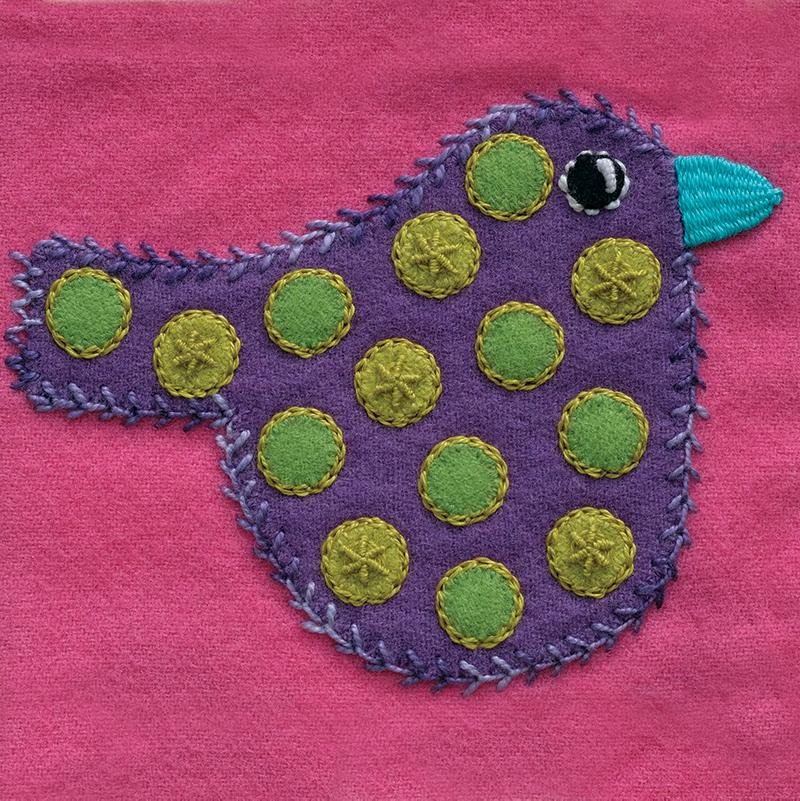 Polka Dot Bird Pre-Cut Block - Sue Spargo