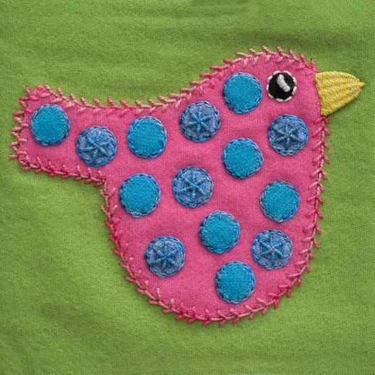 Polka Dot Bird Pre-Cut Block - Sue Spargo