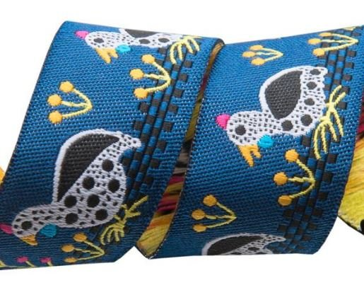 Guinea Fowl on Blue 7/8 - Sue Spargo Jacquard Renaissance Ribbon