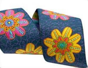 Bright Flowers on Denim 1.5 inch - Sue Spargo Jacquard Renaissance Ribbon