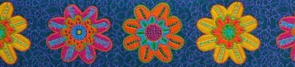 Bright Flowers on Denim - Renaissance Ribbons