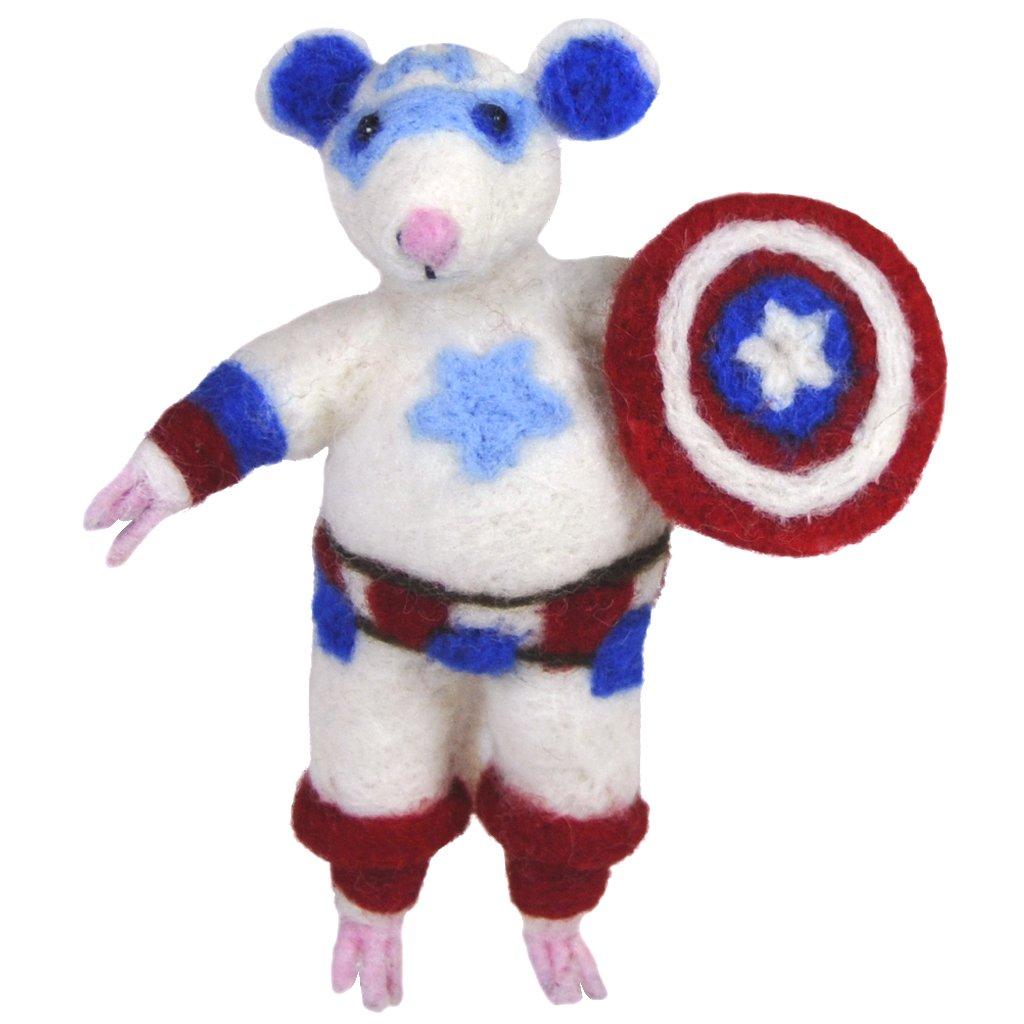 Captain America Mouse - Alpaca felted sculpture