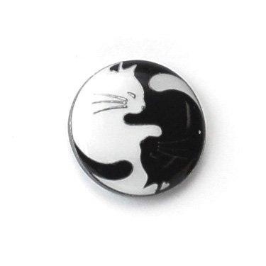 Enamel Yin & Yang Cats Buttons