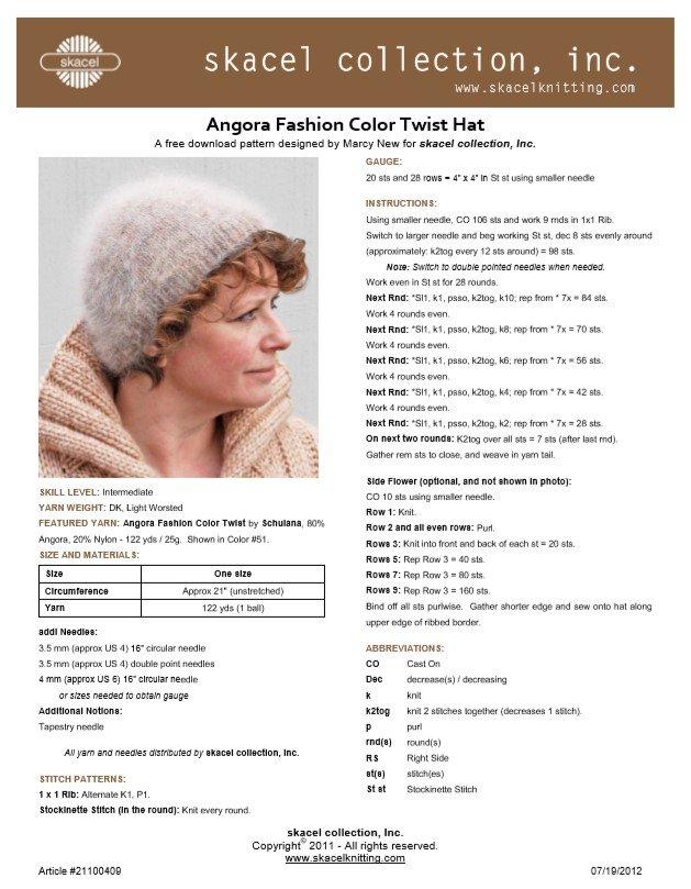Color Twist Hat - free .pdf pattern download