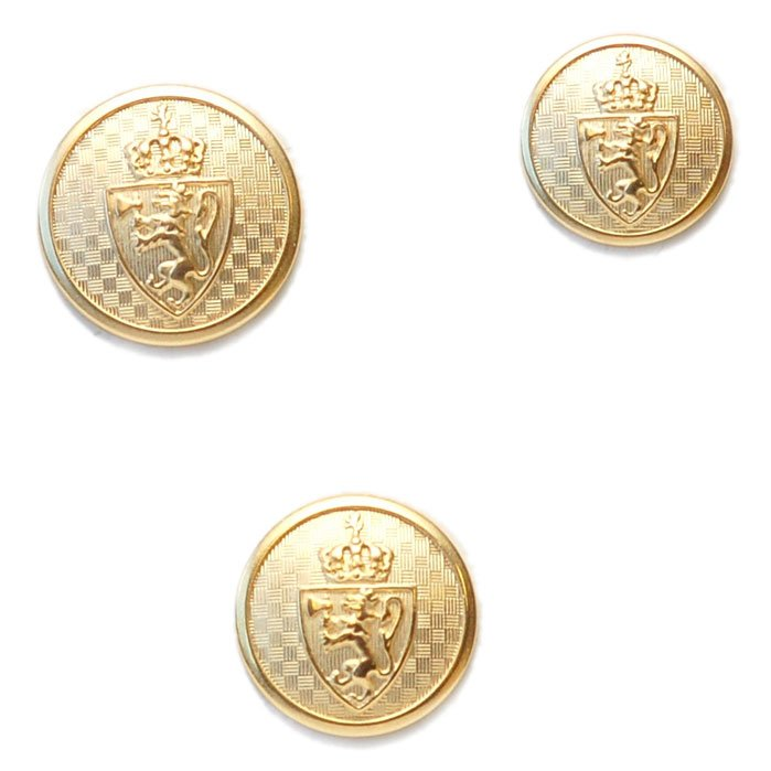 Gold Crown and Shield Metal Button