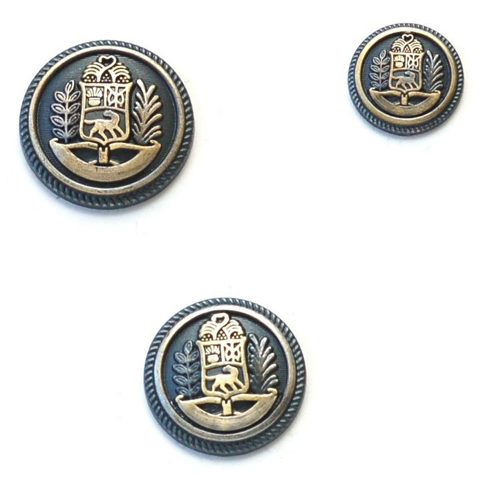 Dog Coat of Arms with Trees Brass Metal Button