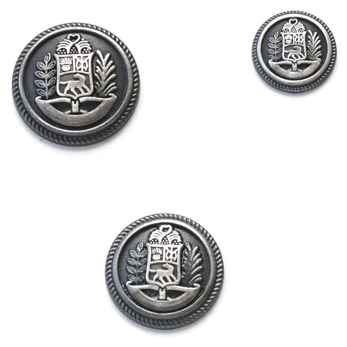 Dog Coat of Arms with Trees Blue Metal Button