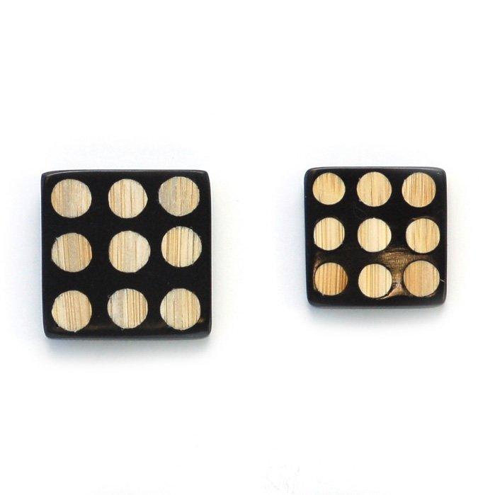 Domino Square Wood Button