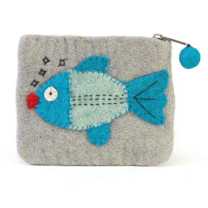 Fish Felt Zip Pouch