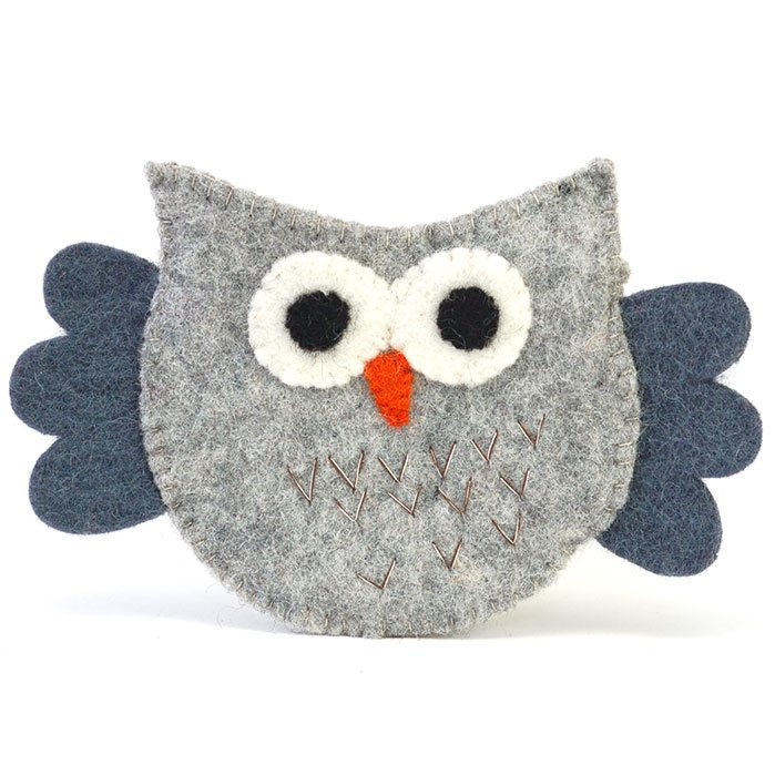 Flying Owl Felt Zip Pouch