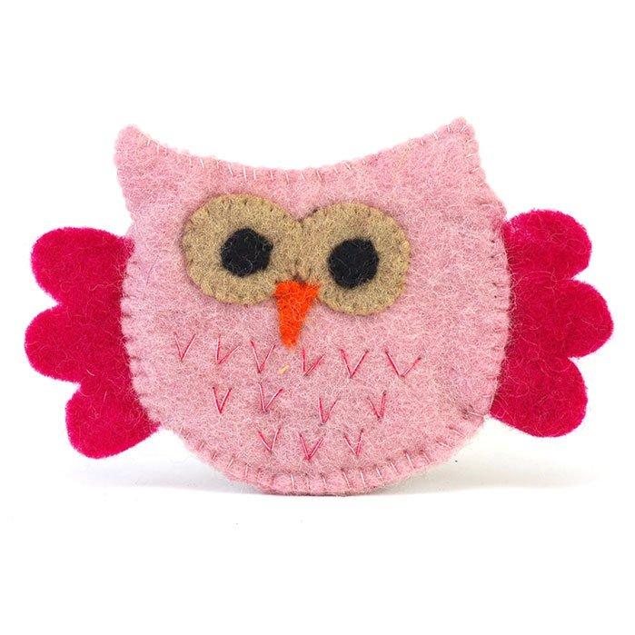 Flying Owl Felt Zip Pouch