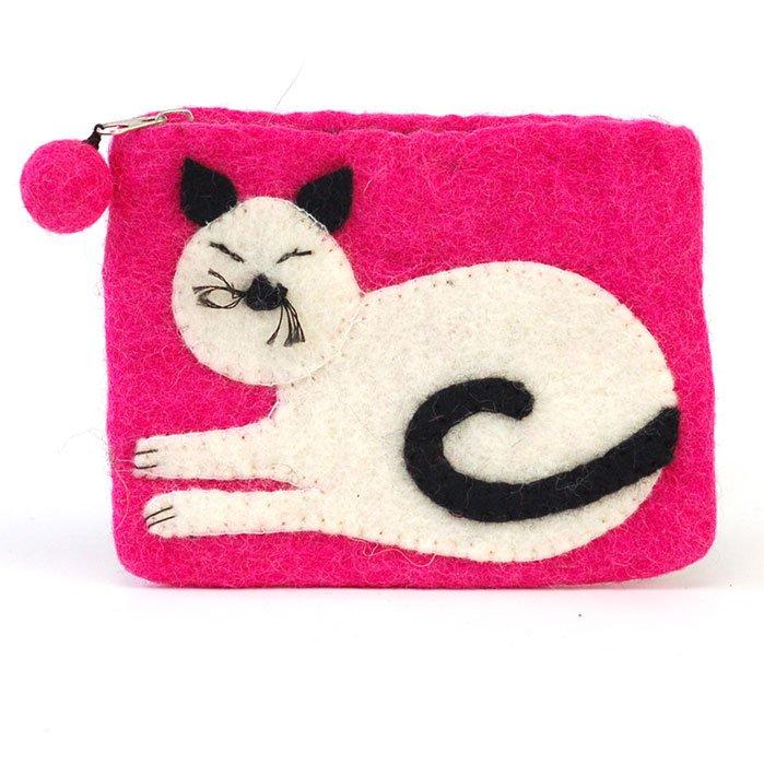 Wool Felt Cat Zip Pouch
