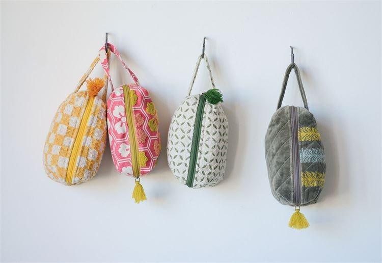 Cotton Waffle Zip Pouch with tassel