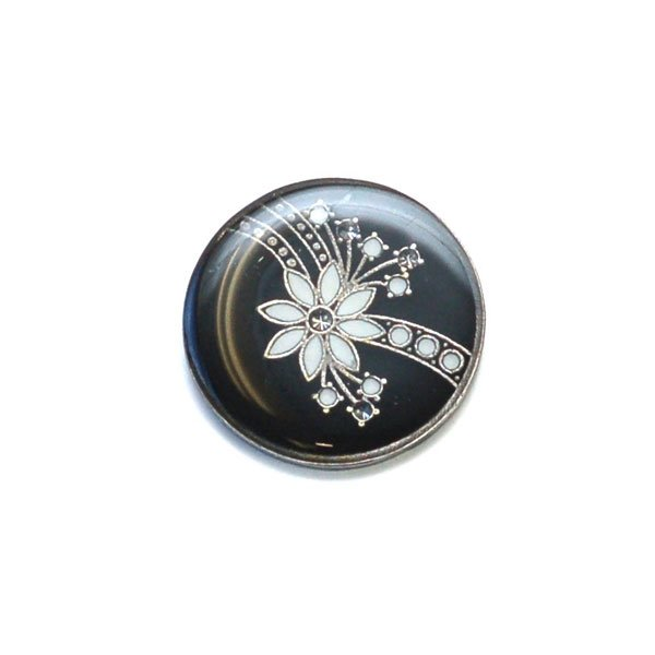 Crystal Flower Burst Enamel Button