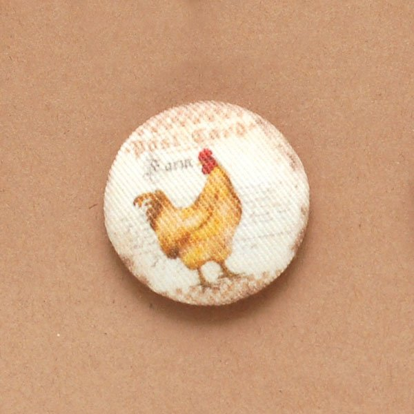 Roosters & Hens Fabric Buttons