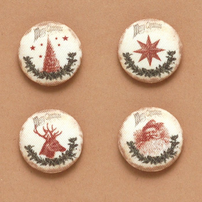 Merry Christmas Fabric Buttons