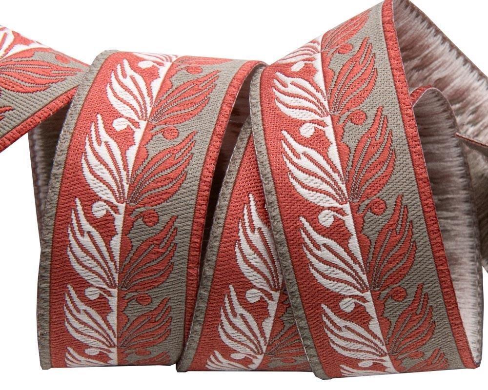 Art Deco Foliage grey red and ecru 7/8 inch