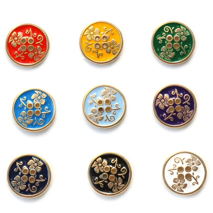 Flower and Stem Enamel Buttons