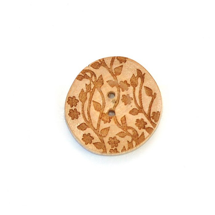 Natural with Flowers and Stems Wood Button