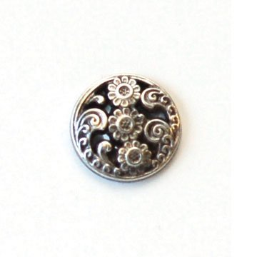 Flowers With Cutouts; Antique Silver Metal Button